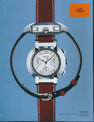 Vintage French Hermes Paris Nomade Watch Magazine Ad 2001