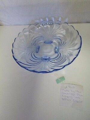 "Vintage 13"" Footed Bowl by Cambridge Caprice Moonlight Blue Glass LOVELY!!"