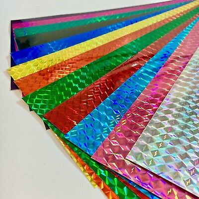 "Any Color 1/4"" Mosaic Prism Holographic Sign Vinyl 8 x 12 Inch 3 Sheets"