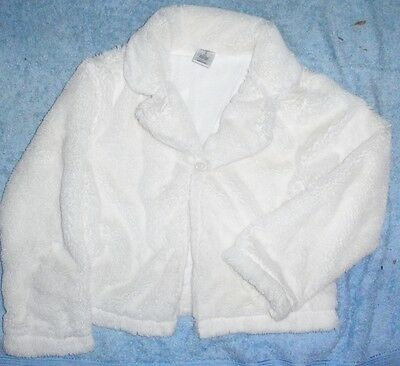 Hit Girl's White Fluffy Jacket~Sz 7~Stunning