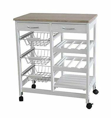 Kitchen Cart Rolling Wood Dining Kitchen Trolley Tableware Storage W/Drawers UK
