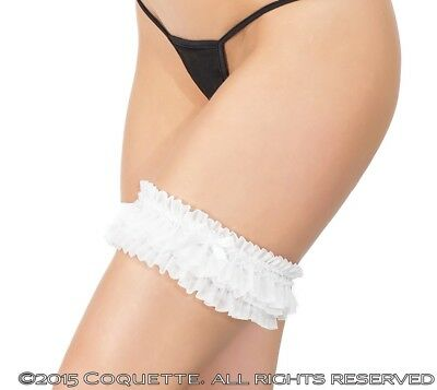 Coquette White Bride Wedding Bridal Gathered Mesh Leg Garter With Small Bow