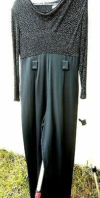Catsuit Vtg 80S Black Sz S M Sparkle Draped Disco Slinky Clubwear Jumpsuit Women