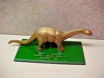 Vintage  Sinclair  Brass Dinosaur on Plack 6 IN. L  2 In. Tall