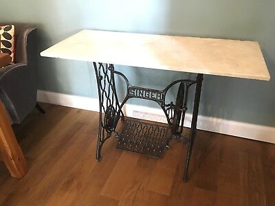 Singer Sewing Machine Table - Antique Cast Iron Table and Marble Top