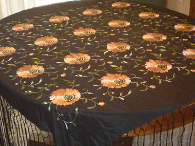 "Gorgeous Black Silk Embroidered Piano Shawl 48 x 46 with 18"" Fringe"