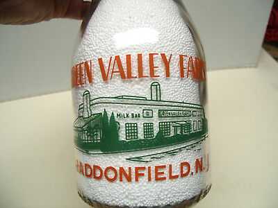 Green Valley Farms Haddonfield Nj Pyro Quart Exc. Luster And Glass Milk Bottle
