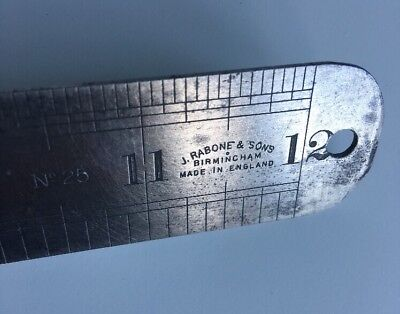 "J.RABONE & SONS BIRMINGHAM 12"" STEEL METAL RULER No.25 VINTAGE"