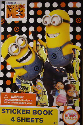 NEW DESPICABLE ME 3 STICKER BOOK  4 Sheets Minions Lucy Agnes Gru Margo Edith