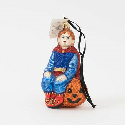 "Slavic Treasures Glass Holiday Tree Ornament ""Super Kid"" Halloween Theme 5"" T"