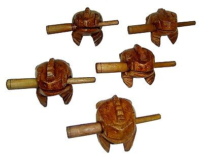"2""  Mini Frog Carved Wooden Croaking Instrument Musical Sound Frog Handcraft"