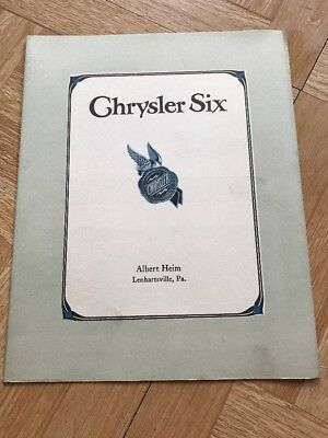 Original 1920's  Chrysler Six Vintage Automobile Cars Fold Out Brochure