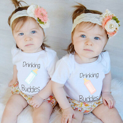 Newborn boy girl  Baby Kids  Romper Bodysuit Bottle cute Cotton T-shirt twin