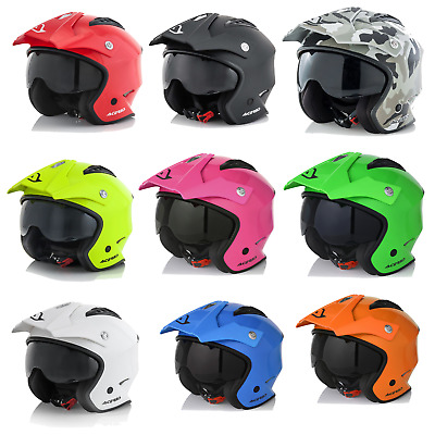Acerbis Jet Aria Open Face Trials Helmet With Drop Down Sun Visor Road Legal