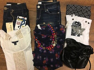 9 Pc. NWT LOT American Eagle, VS Pink, Aeropostale, Sz. 0, Sm. Ret: $160.00