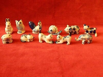 Loads Old Small Delft Blue & White Animals Owl Pig Cat Frog Cow Hen Elephant
