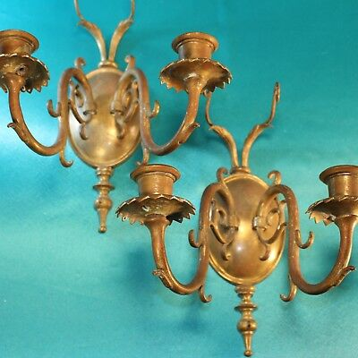 2 Brass Wall Sconce Pair for Electric Light + Drilled for Prisms Vintage Antique