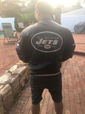 Men's NFL New York Jets Official Leather Bomber Jacket Size XL Used