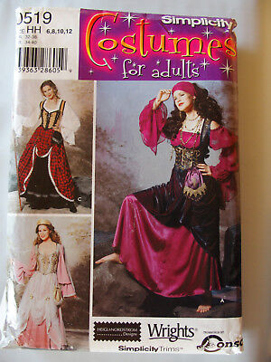Simplicity 9966 Gypsy Steam Punk Overskirt Blouse Corset  6-8-10-12 Pattern UC