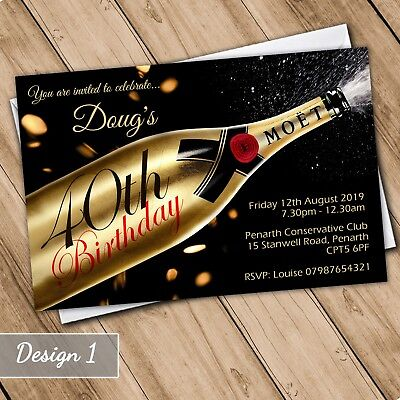 Champagne Invitations Personalised Birthday Party Invites 21st 30th 40th 50th 60