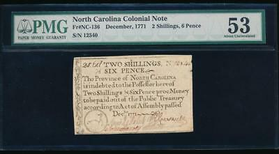 AC December 1771 6 Shilling 2 Pence North Carolina Colonial Note NC-136 PMG 53