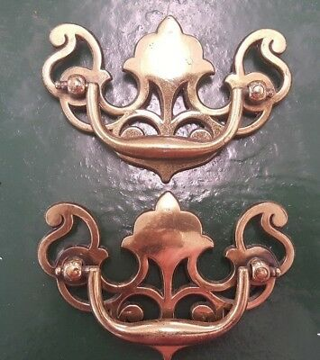 Lot of 2 Vintage Drawer Pulls Brass Antique Bronze