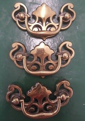 Lot of 3 Vintage Drawer Pulls Brass Antique Bronze