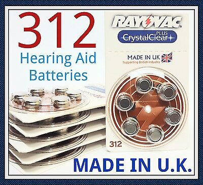 60 x Rayovac Size 312 Brown Hearing Aid Batteries 1.45v PR41 Crystal Clear+ New