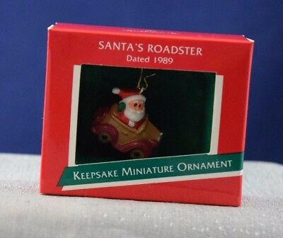 NEW 1989 Hallmark MINIATURE Ornament SANTA'S ROADSTER Free Shipping