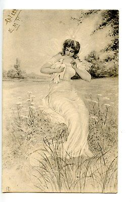 Black & white postcard of a fairy holding a dove, signed ED, postmarked 1903