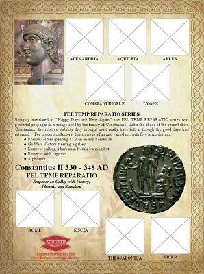 Constantius II FEL TEMP Galley Roman Ancient Coin Sheet. With mints.