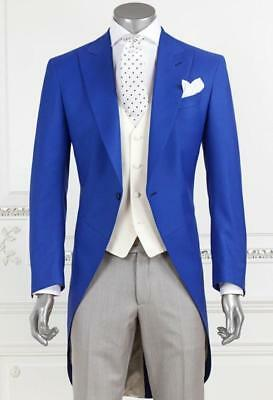 New Suits Tuxedo Bridegroom Blue Jacket Gray Pants Ivory Vest Customize H6577