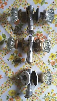 Old Antique Vintage Victorian 1920's Era Glass Door Knobs Set Made In Usa