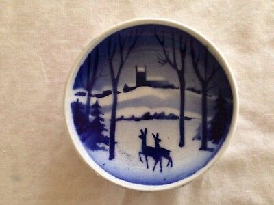 Royal Copenhagen Mini Plate, Christmas Forest Scene w/Deer