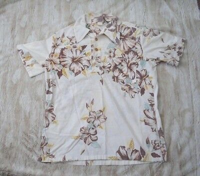 Styled in California Mens White  Hawaiian VINTAGE Short Sleeve Shirt, Size L