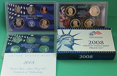 2008 United States Mint ANNUAL 14 Coin Proof Set Original Box and COA Complete