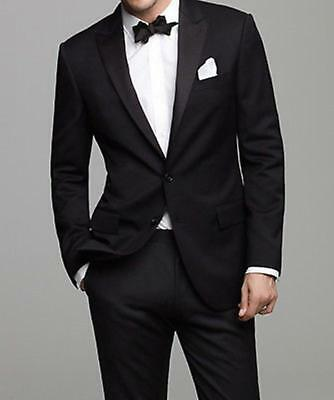 New Suits Tuxedo Bridegroom Black Jacket Pants Lapel Tie Customize Noble B532