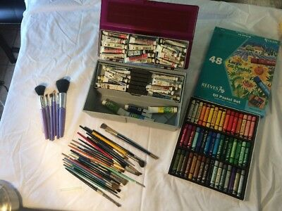 Big Lot Grumbacher Watercolor Tube Paints, Brushes & Reeves Oil Pastels