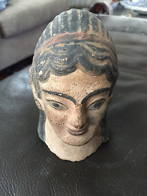 Etruscan Greek Kore Terracotta Pottery Head Ancient Archaic 8th - 3rd c. BC