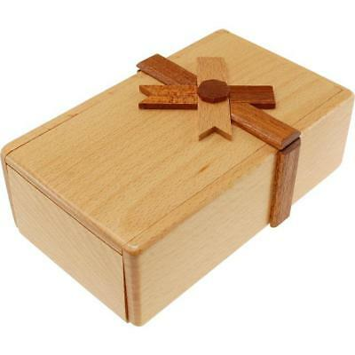 Secret Opening Puzzle Box With Ribbon - Tricky Wooden Puzzle Box