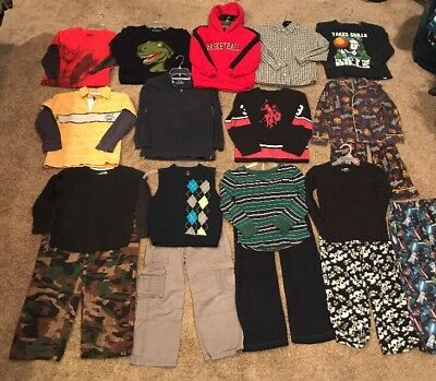 Boys Size 7-8 Fall Shirts, Pants & Pjs Mixed Clothing Wardrobe 19 Pc Lot