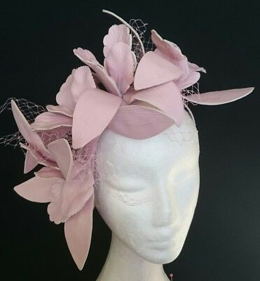 Blush Pale Pink Faux Leather Veiling Flowers Fascinator Races Wedding