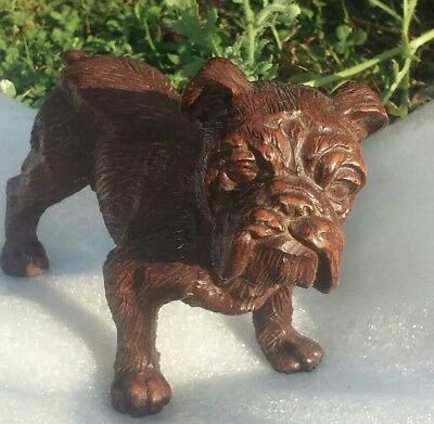 Bulldog wood look Statue Collectible Vintage Bulldog well defined