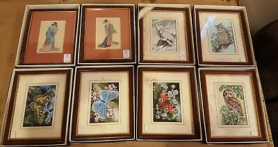 RARE Set / Collection of 8 CASH'S WOVEN SILK PICTURES  OWL , Peacock Butterfly