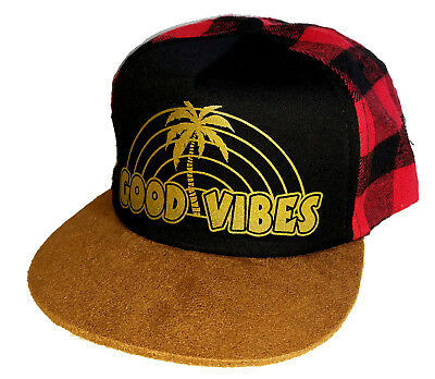 f957130ad60 Kid s Good Vibes Palm Tree Plaid Buffalo Check Snapback Mesh Trucker Hat Cap