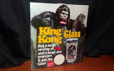 1976 King Kong Coca-Cola Promo Glass Theater Counter Stand Up Sign