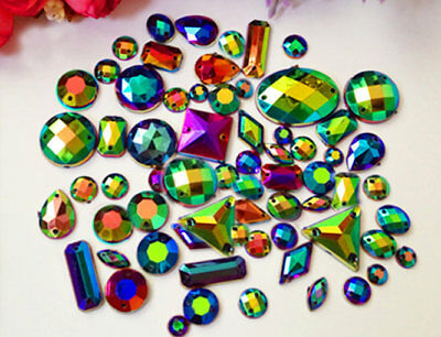 AB Black / 100 Pieces Sew on Gems Mixed Shapes Flat Back size 6-40mm has holes