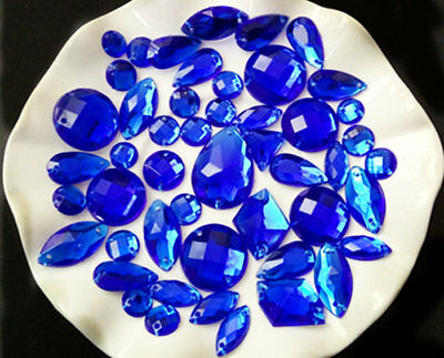 Dark Blue / 100 Pieces Sew on Gems Mixed Shapes Flat Back size 6-40mm has holes