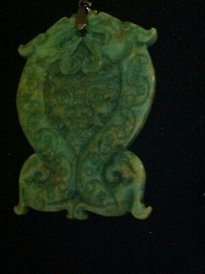 Beautiful Huge  Antique Carved Double Dragon Spinach Jade Pendant 59g