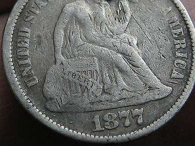 1877 P Seated Liberty Silver Dime- VG/Fine Details